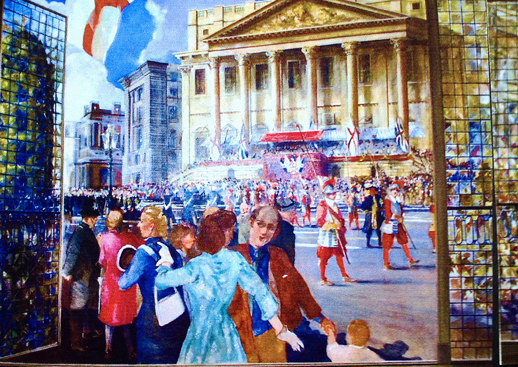 Detail of the Lord Mayors Parade, mural for Prudential Property Services in the City of London.