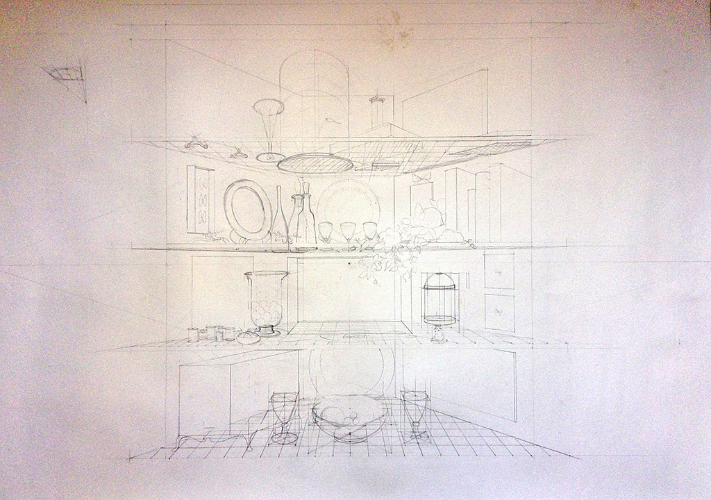 This drawing is the large perspective drawing that I worked from to construct the cupboard, using vanishing points and lines of vision.  The lines of vision had to work from many points of view, for people sitting down and standing up in any part of the room.