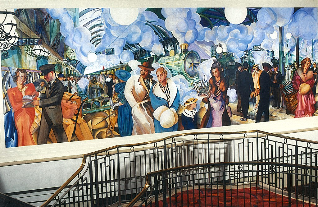 "Art Deco Mural ""Platform one"", Paddington Station, mural for the staircase at the Hilton"
