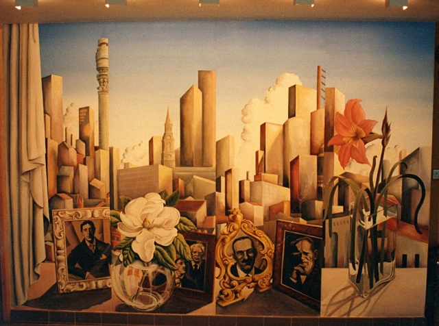 Coffee shop mural at the Clifton Ford Hotel, London in more detail.