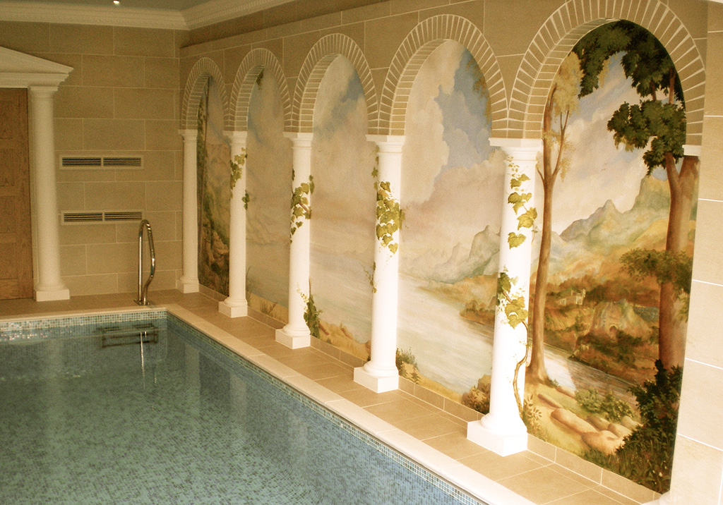 Classical scene for a swimming pool mural, Midlands, UK.