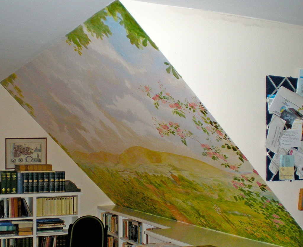 Landscape mural on sloping ceiling.