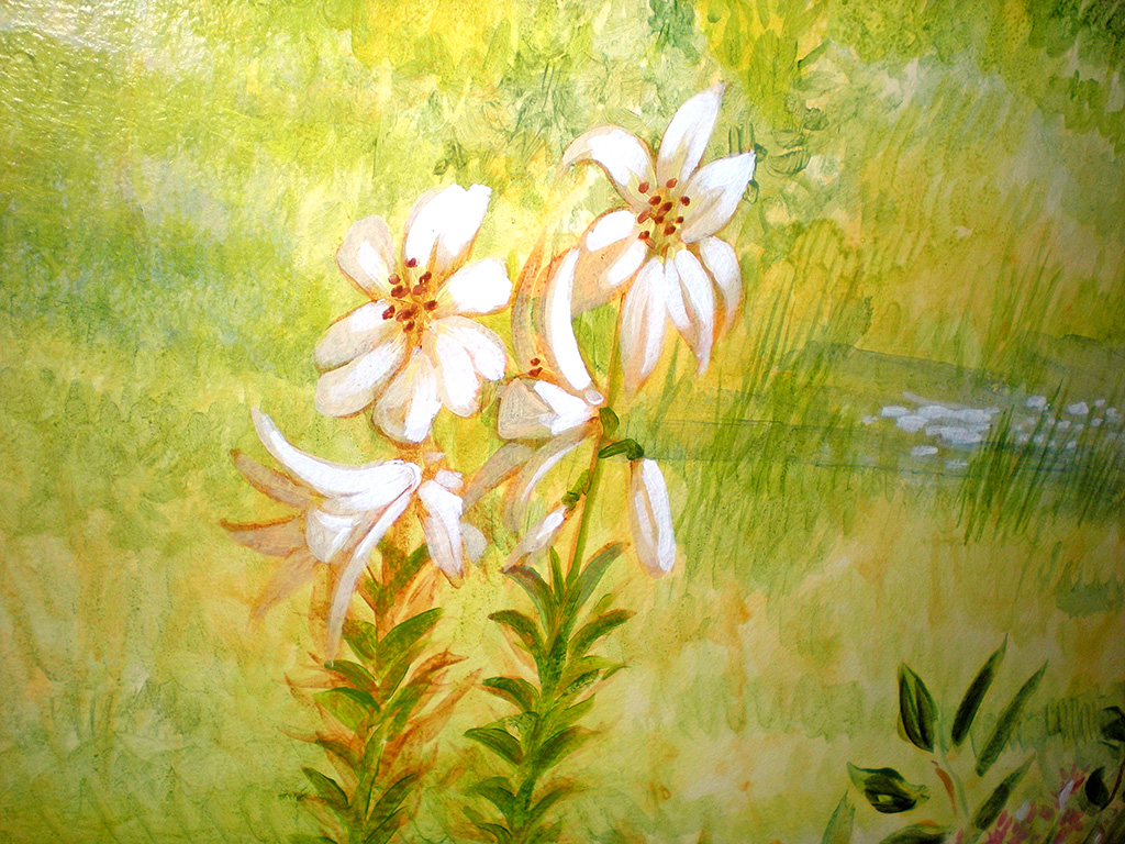 Lilies flower detail, Sussex mural.