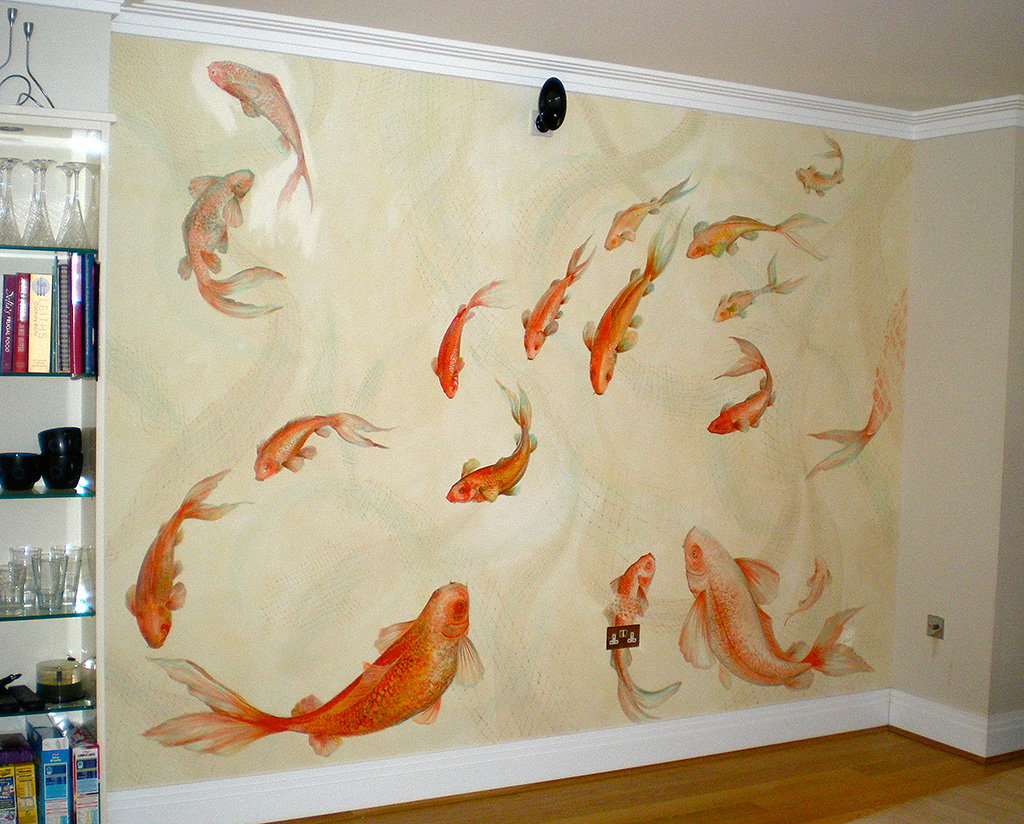 Swimming carp mural, Barnes, London.