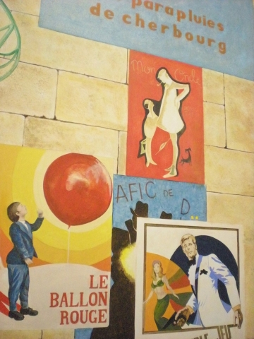 French film posters on stonework detail, Hong Kong