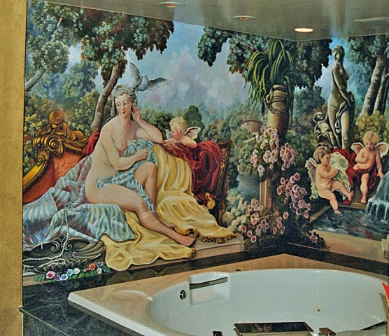Jaccuzzi mural with cherubs, New York City.