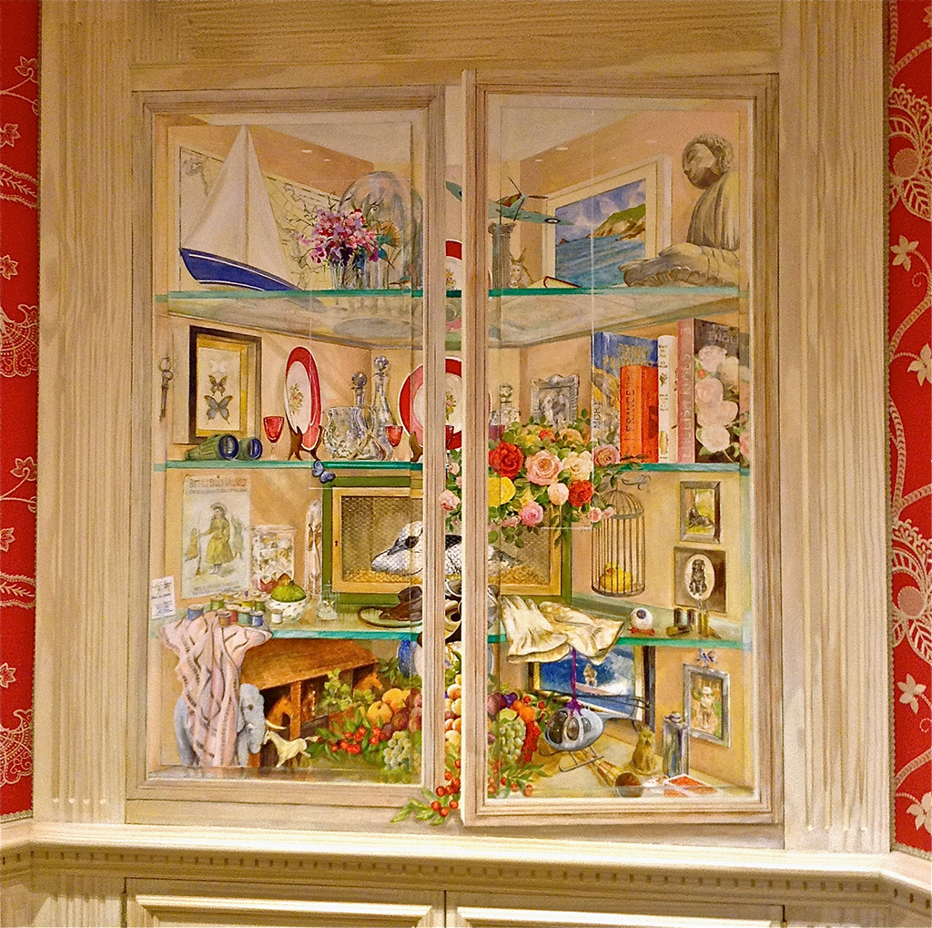 Trompe l'oeil glass display cupboard mural. Kate Lovegrove