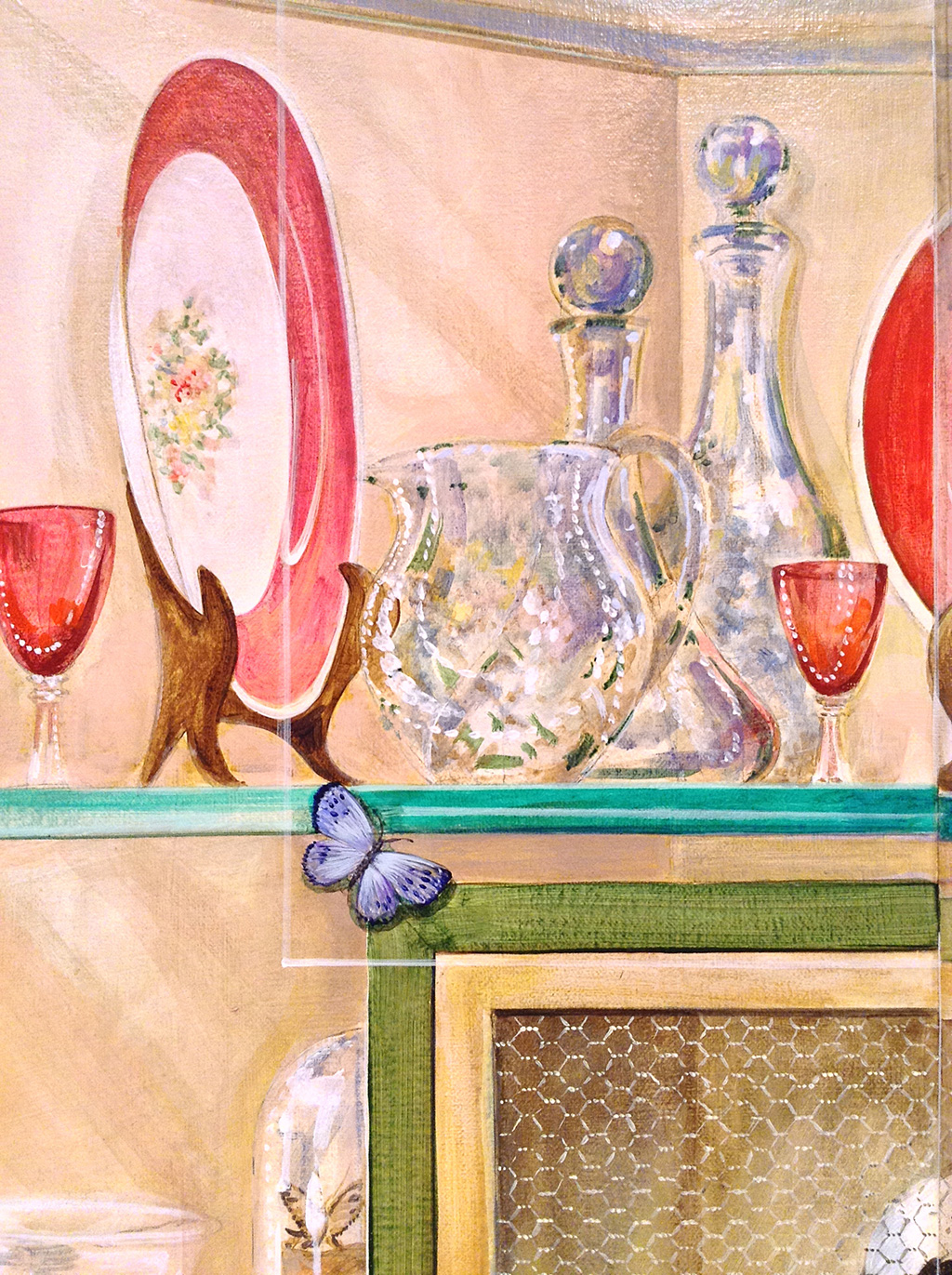 Trompe l'oeil glass display cabinet mural detail