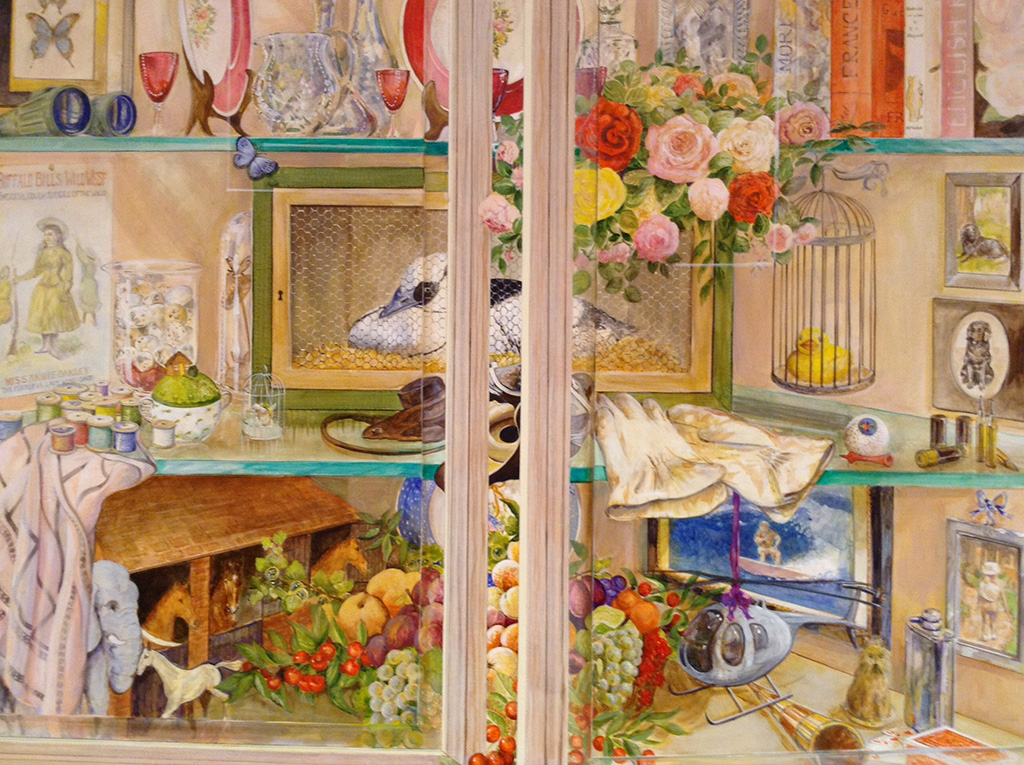 Trompe l'oeil glass display cupboard mural - UK Murals