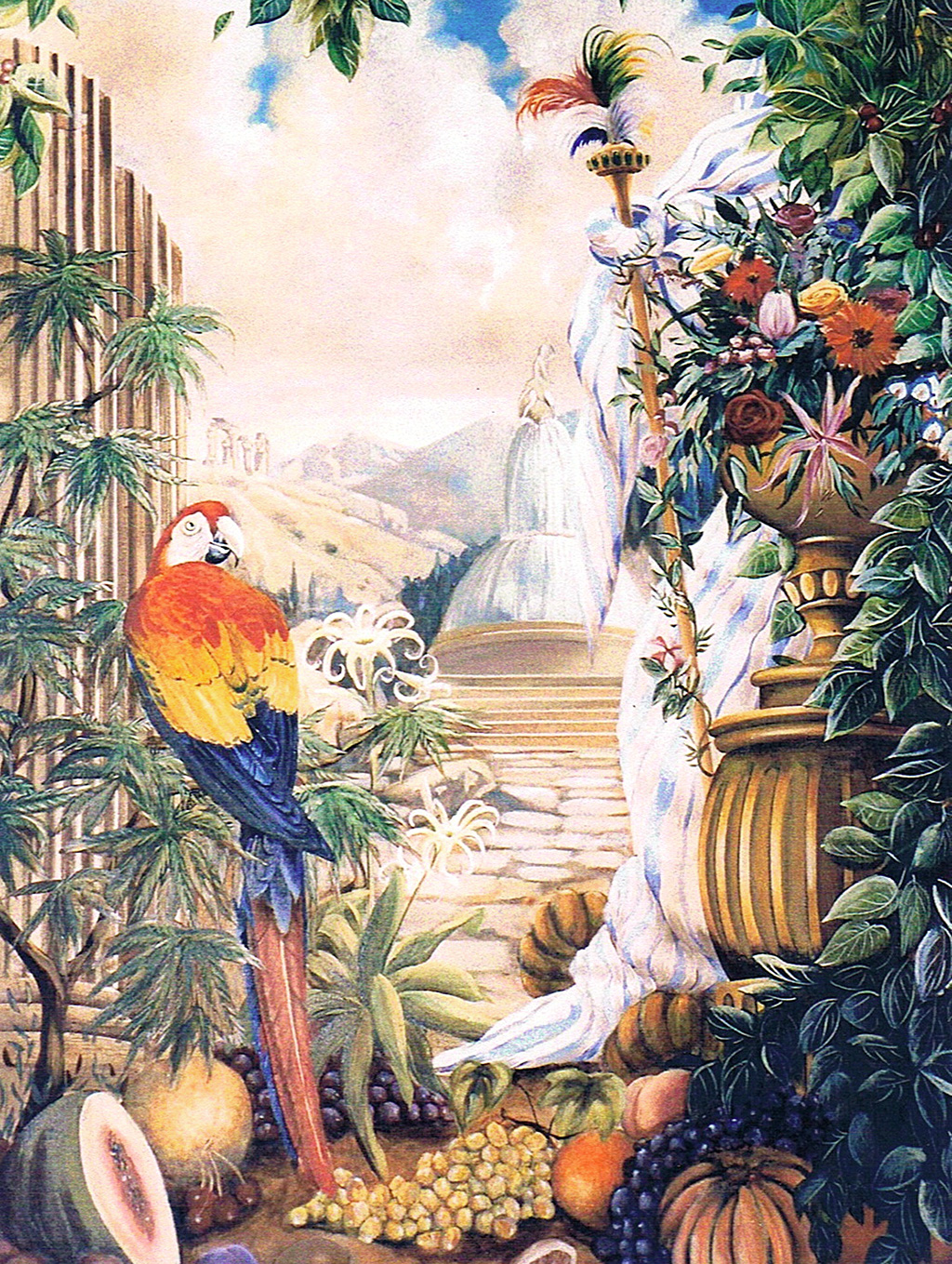 Panel detail of murals painted for the ballroom at the Island Shangri La Hotel, Hong Kong.