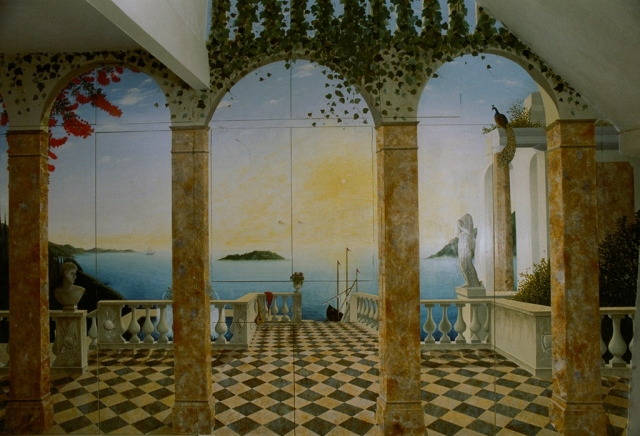 Italianate mural on cupboard doors.