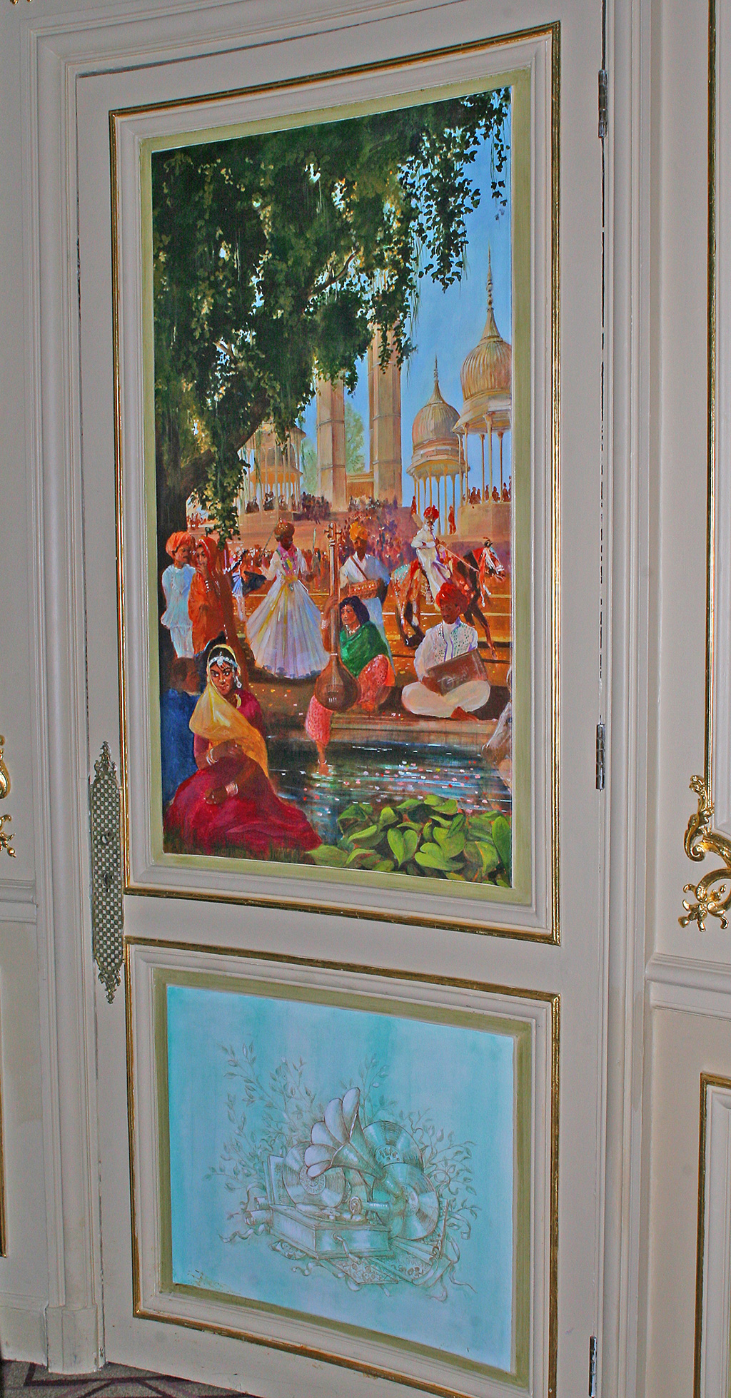 Mural depicting music around the world for the Great Gallery at the RAC Club, Pall Mall, London, detail.