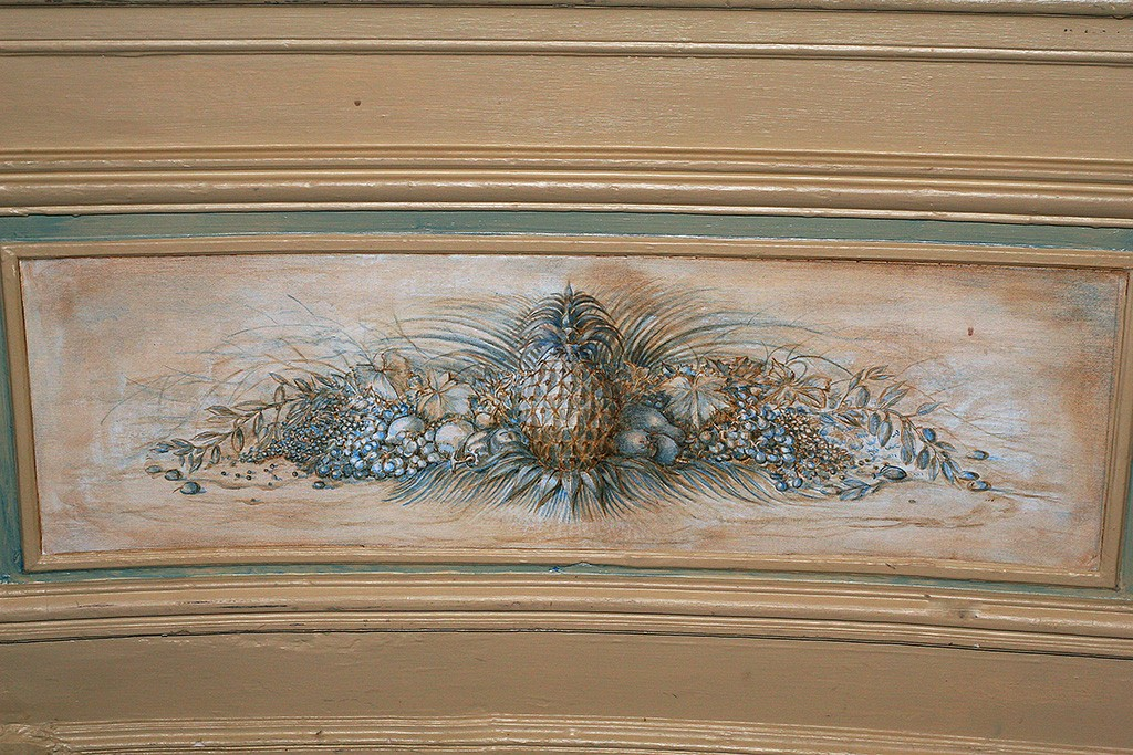 Fruit and vegetable panel below dado for the Minstrels Gallery private dining room at the RAC Club, Pall Mall, London.