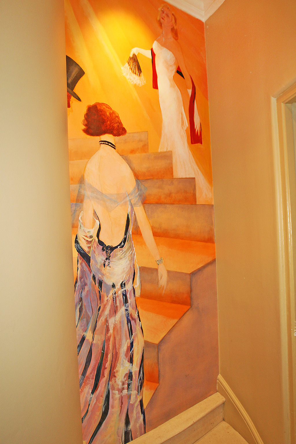 Women on the staircase in situ.