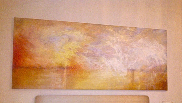 "After Turner's ""Sunset Over A Lake"", the paintings dimensions altered to double the length of the original picture."