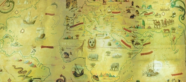 The ancient world, map ceiling mural
