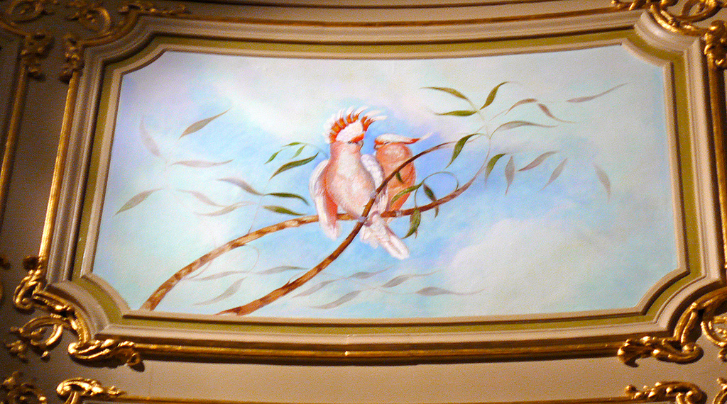 Mural depicting music around the world, Cockatoo panel, for the RAC Club, Pall Mall, London, detail.