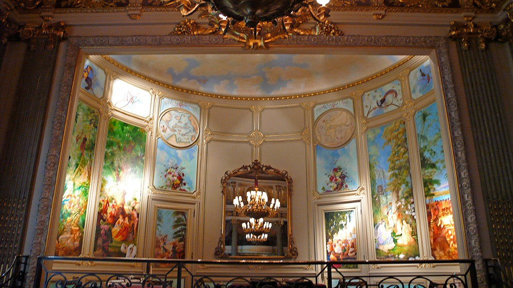 Mural depicting music around the world with a sky ceiling, for the stage at the Great Gallery, RAC Club, Pall Mall, London.