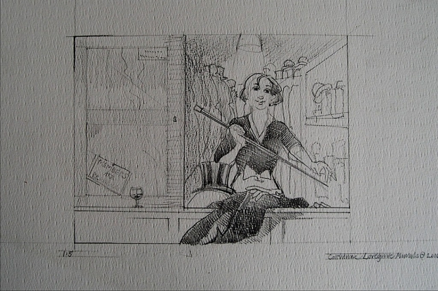 Sketch for the hat check girl, RAC Club, Pall Mall, London.