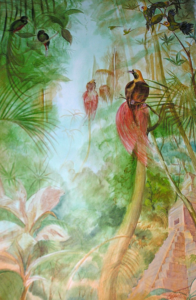 Birds of paradise in the Jungle, mural detail