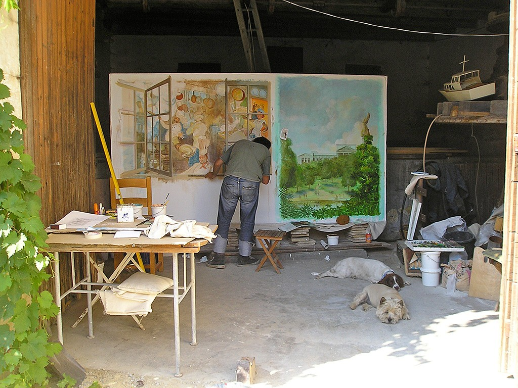 Working on canvas in the studio on the kitchen window mural for the RAC Club, Minstrels Gallery staircase.