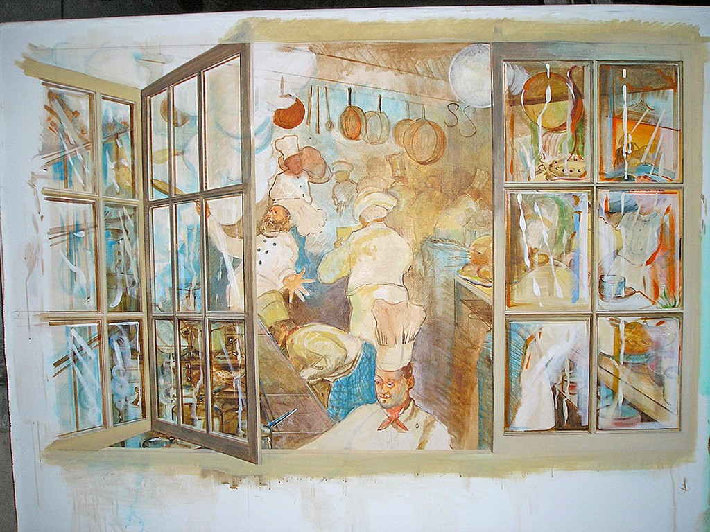The unfinished kitchen mural work in progress.