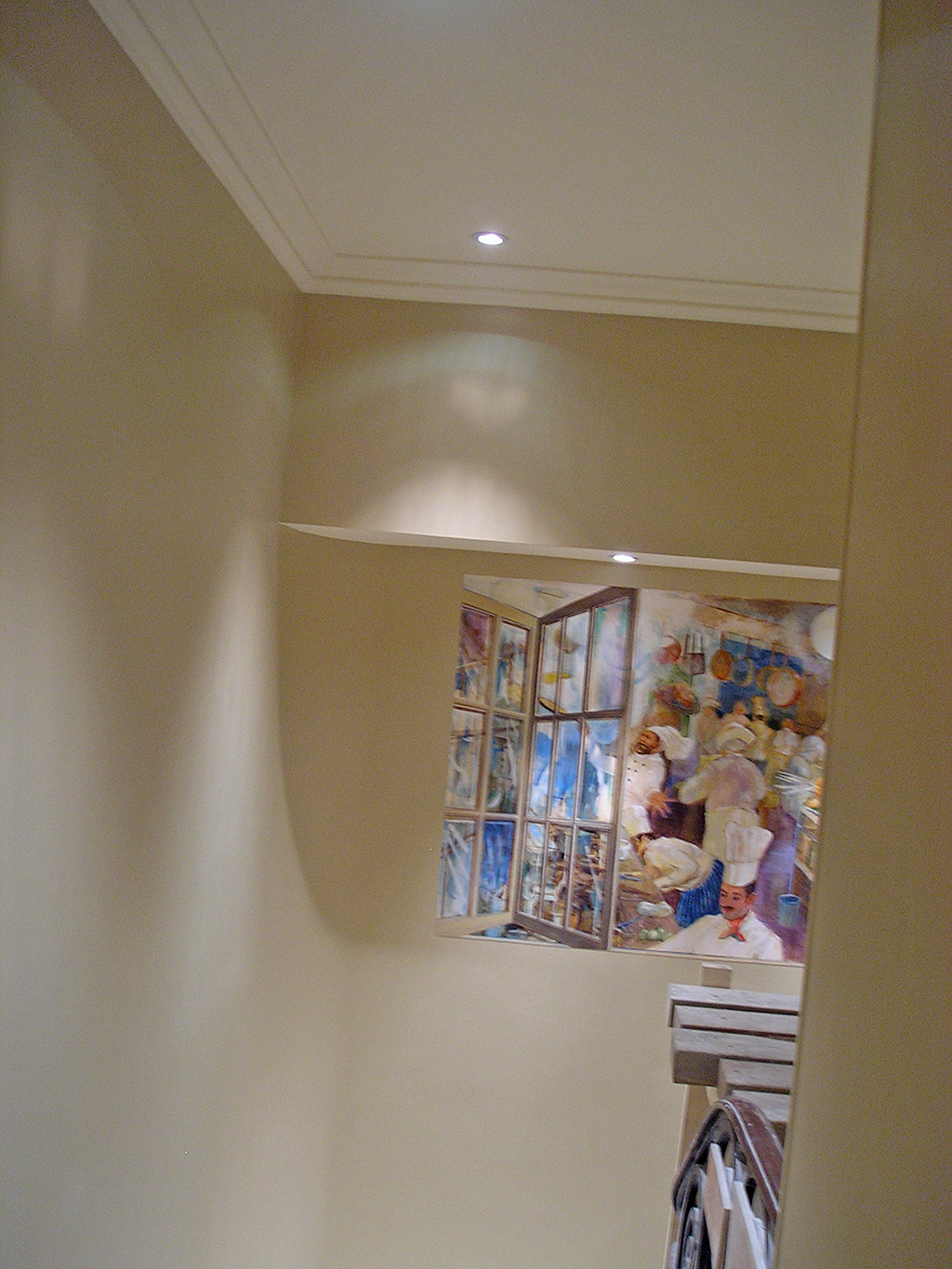 The Kitchen window mural installed on the staircase to the Minstrels Gallery at the RAC Club, Pall Mall, London.