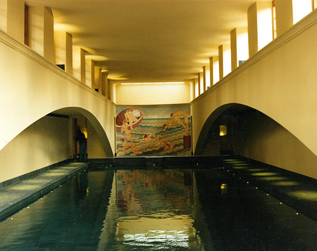 After Duncan Grant, swimming pool mural on curved wall.