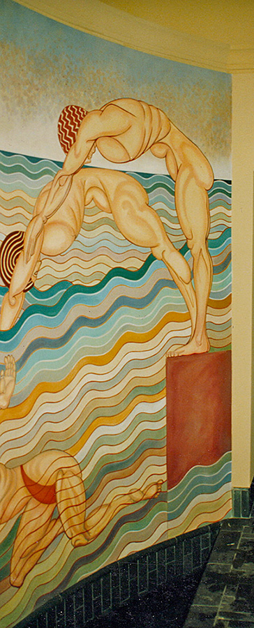 Swimming pool mural detail.