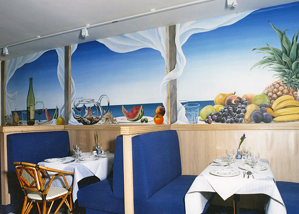 Seascape and fruit mural, London