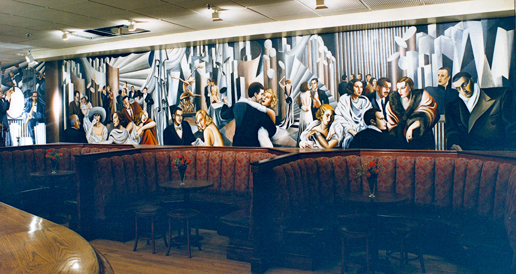 Smollensky's on the Strand, bar mural, after Tamara de Lempika.