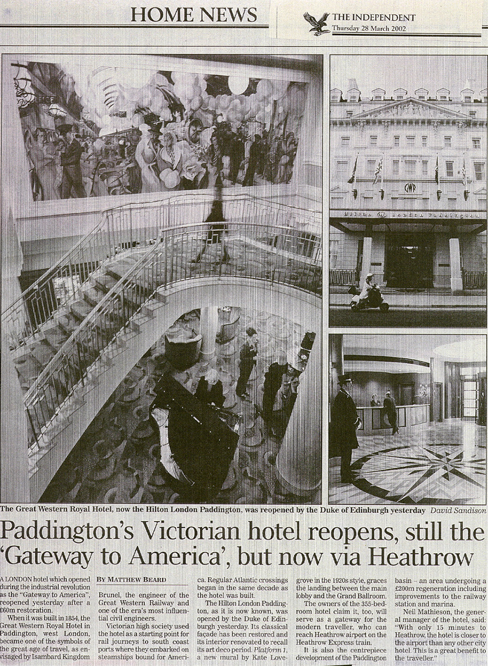 Independent newspaper article on the opening of the Paddington Hilton.