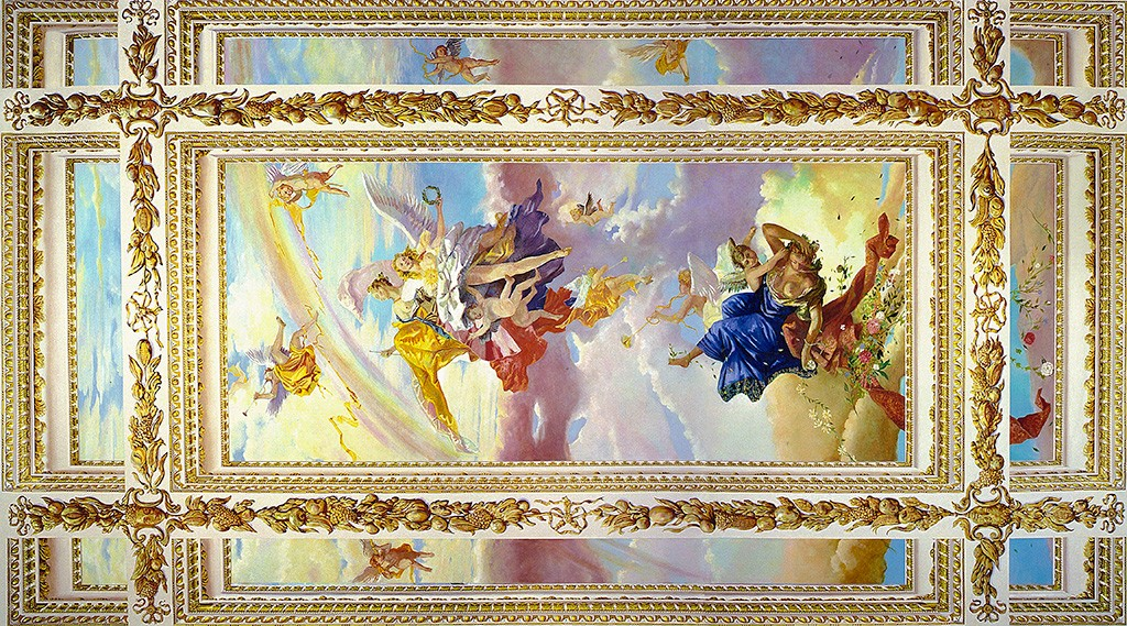 Trompe l'oeil coffered ceiling with Tiepolo inspired sky, angels and cherubs. Ceiling mural, New York City.