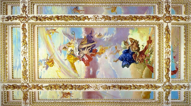 Tiepolo ceiling with gilded deep coffered trompe l'oeil ceiling mural, NYC