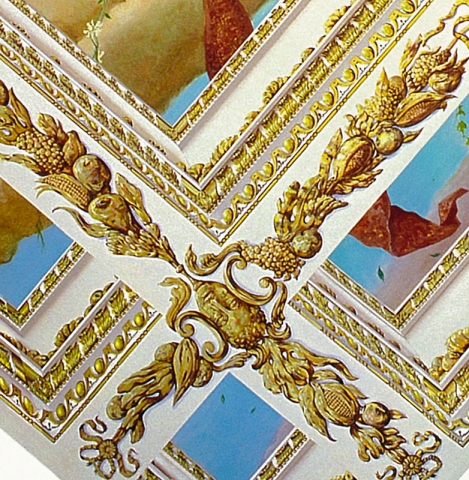 Tiepolo ceiling with gilded deep coffered trompe l'oeil ceiling mural detail, NYC