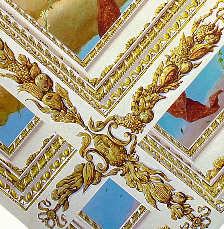 Trompe l 39 oeil tiepolo ceiling with gilded deep coffered for Deco trompe l oeil mural