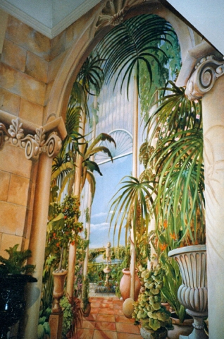 Trompe l'oeil conservatory mural, Doughty Cottage, Richmond
