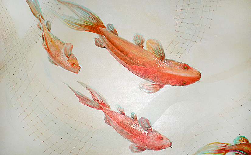Fish swimming mural.