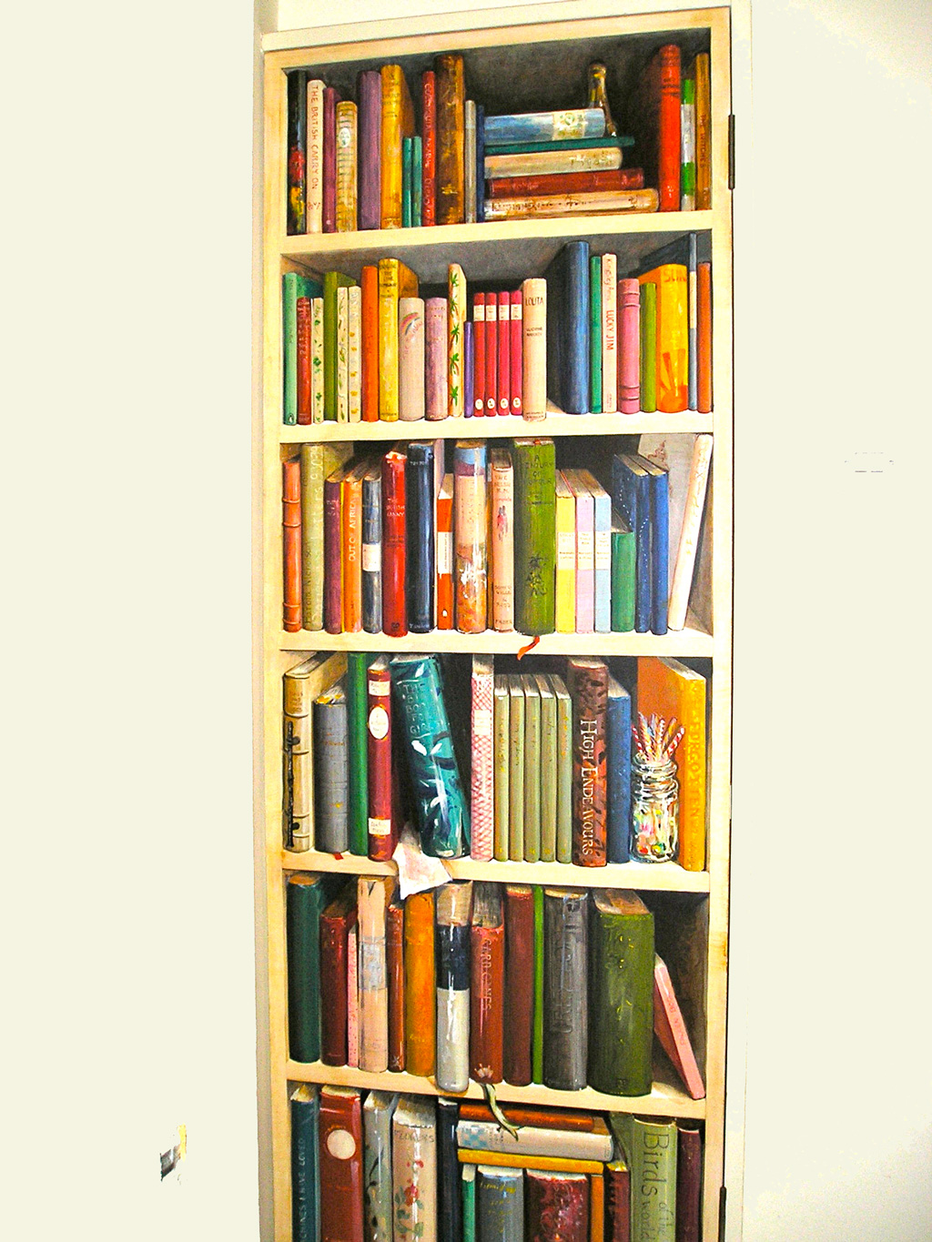Trompe l'oeil biographical bookcase, London.