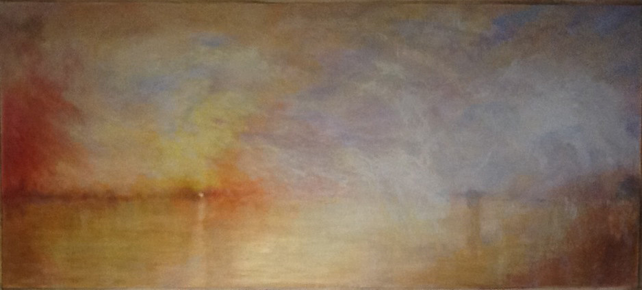 "J M W Turner ""Sunset over a lake"" detail."